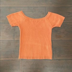 Forever 21 Amber Off The Shoulder Ribbed Knit Top